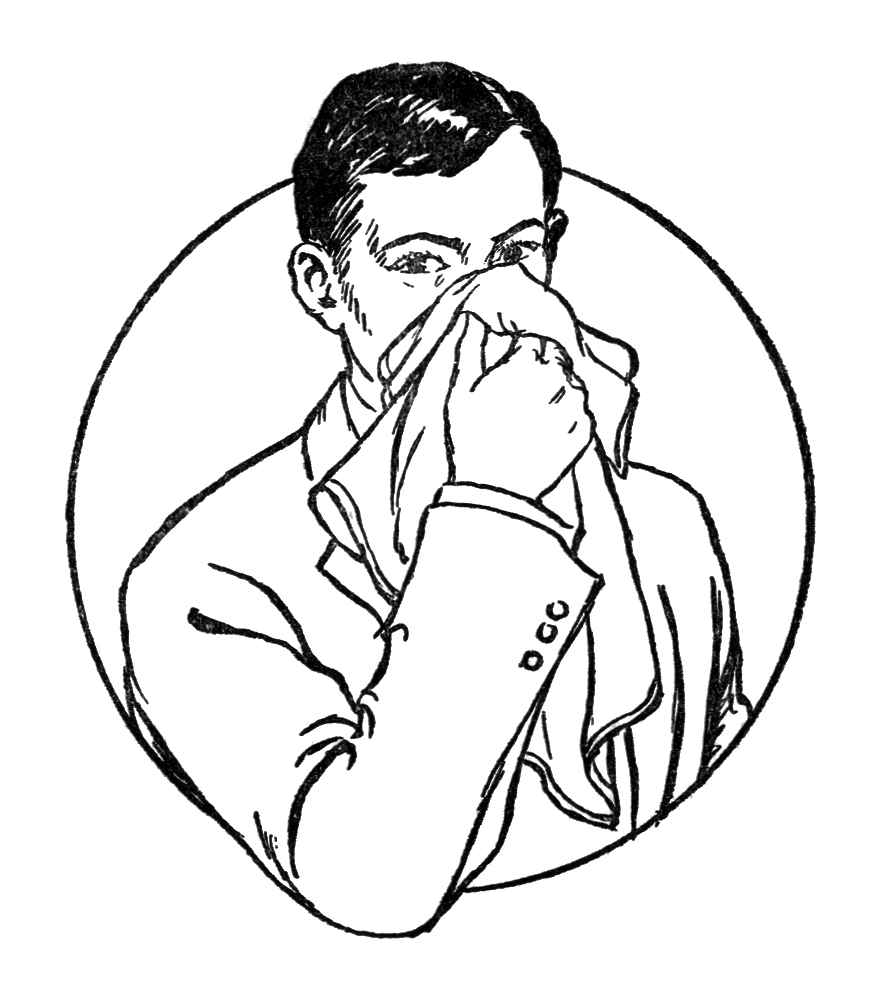 řízení příznaků senné rýmy - slovník přirozeného zdraví - thenaturalhealthdictionary.com - 13348-vintage-illustration-of-a-man-blowing-his-nose-pv